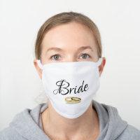 2020 Wedding, Bride Gift Ideas, Social Distancing White Cotton Face Mask