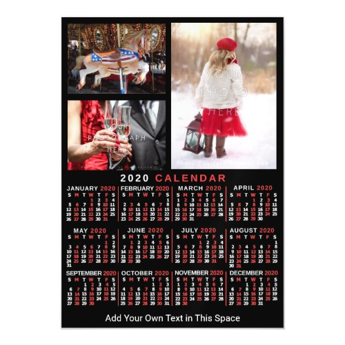2020 Year Calendar Black Red Personalized Photo Magnetic Invitation