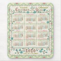 2020 Year Calendar Victorian Art Nouveau | Custom Mouse Pad
