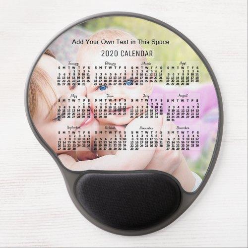 2020 Year Monthly Calendar Black Add Custom Photo Gel Mouse Pad