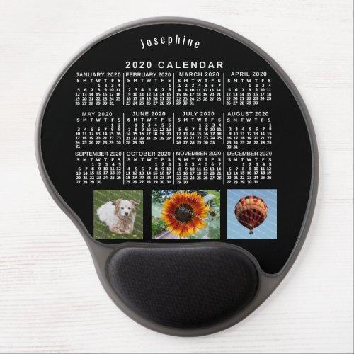 2020 Year Monthly Calendar Black Custom 3 Photos Gel Mouse Pad