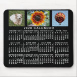 "2020 Year Monthly Calendar Black Custom 3 Photos Mouse Pad<br><div class=""desc"">This 2020 year 3-photo personalized monthly calendar mousepad / mousemat shows the days of the week for each month in classic, professional-looking white on a black background. This is a simple, minimalist, bold yearly calendar mousepad to help you conquer the new year. Always know what date it is and check...</div>"