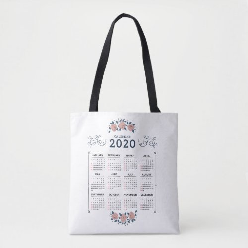 2020 Year Monthly Calendar Business Employee Tote Bag