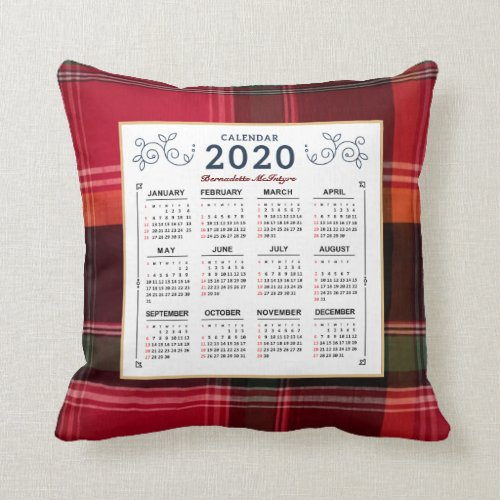 2020 Year Monthly Calendar Madras Personalize Throw Pillow