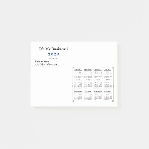 2020 Year Monthly Calendar Personalize Custom Post_it Notes