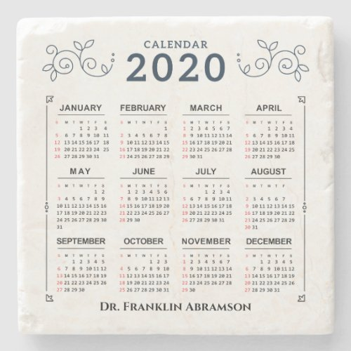 2020 Year Monthly Calendar Personalize Custom Stone Coaster