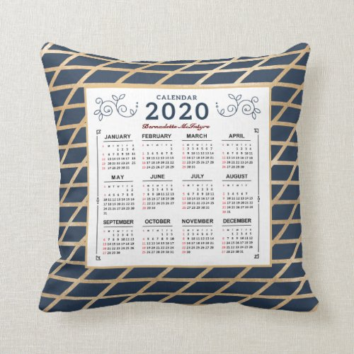 2020 Year Monthly Calendar Personalize Gold Blue Throw Pillow