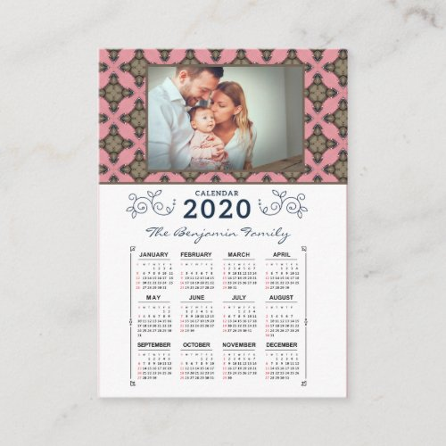 2020 Year Monthly Calendar Pink Pattern Business Card