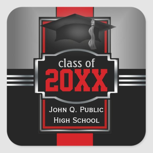 2021  2022 Red Graduation Year and School Square Sticker