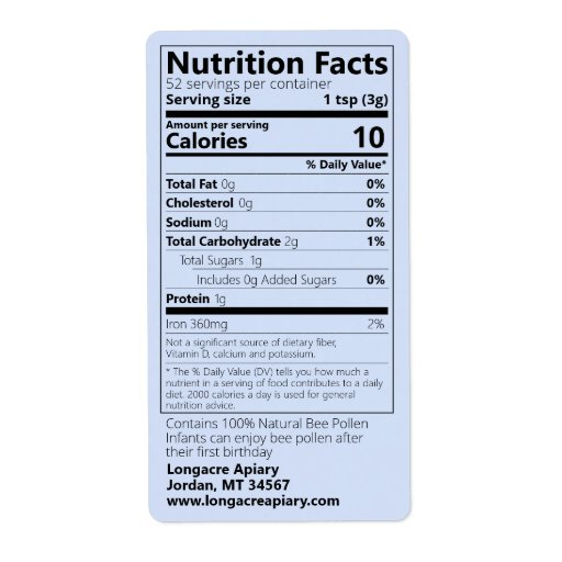 2021 Bee Pollen Nutrition Facts Blue Product Label