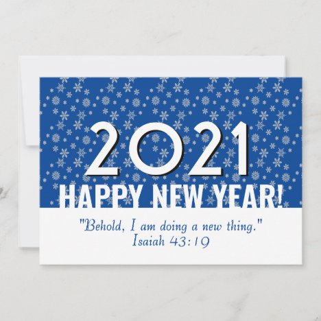 2021 | Bible Verse | Blue | Snowflakes | NEW YEAR Holiday Card