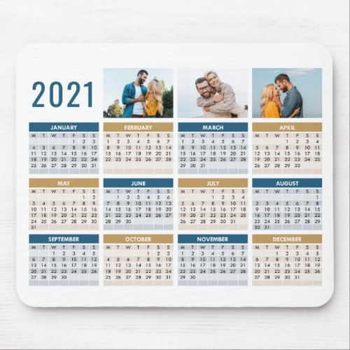 2021 Calendar 3 Custom Photos Full Year Blue Brown Mouse Pad