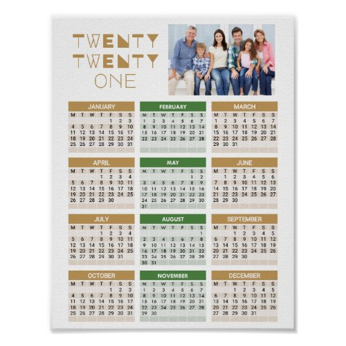 2021 Calendar Add your Own Photo Brown One Page Poster