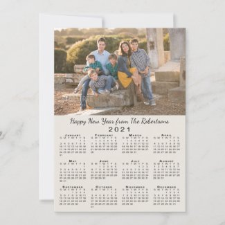 2021 Calendar Beige 2 Custom Photos Happy New Year Holiday Card