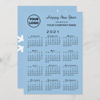 2021 Calendar Business Logo Light Blue Snowflake Holiday Card
