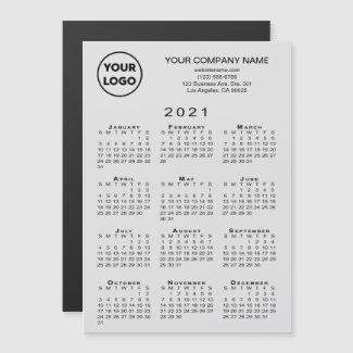 2021 Calendar Business Logo Text Grey Magnet Card
