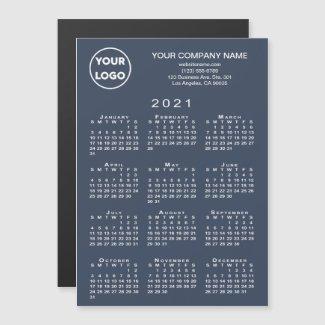2021 Calendar Business Logo Text Navy Magnet Card