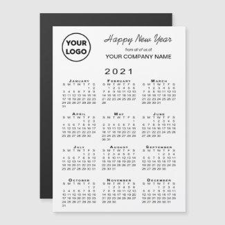 2021 Calendar Logo Business Holiday Magnetic Card