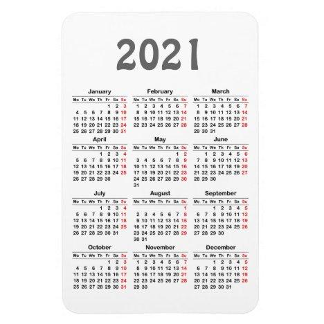 2021 calendar magnet