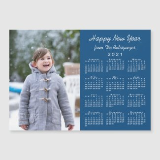 2021 Calendar Modern Photo Blue Happy New Year