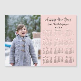 2021 Calendar Modern Photo Coral Happy New Year