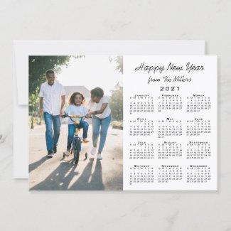 2021 Calendar Modern White 2 Photo Happy New Year Holiday Card