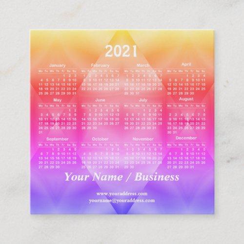 2021 calendar template square business card