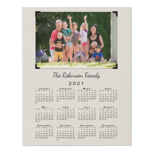 2021 Calendar with Custom Photo and Name on Beige Faux Canvas Print