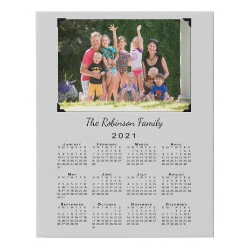 2021 Calendar with Custom Photo and Name on Gray Faux Canvas Print