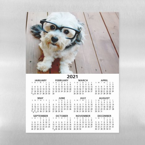 2021 Calendar with Photo Basic Black White Minimal Magnetic Dry Erase Sheet