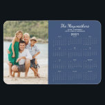 """2021 Family Photo Yearly Calendar Magnet<br><div class=""""desc"""">This is the Blue Version of our 2021 Customizable Family Name and Photo Magnetic Calendar featuring your personalized photo and name. Designed for 2021,  and perfect for small gifts,  stocking stuffers,  or in place of holiday cards!</div>"""