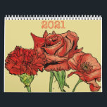 """2021 Floral Original Art Calendar<br><div class=""""desc"""">A 2021 Year Wall Calendar with function and florals. A unique new floral art design each month to brighten up every day of the year. one-if-the-kind art by ATCreateARTworks.</div>"""