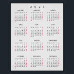"2021 Full Year Home Office Yearly Wall Calendar Poster<br><div class=""desc"">Custom,  beautiful elegant script typography,  simple plain black and white,  2021 calendar,  home room office decor,  wall poster. Makes a great custom gift for friends,  family,  peers,  co-workers,  for holidays,  christmas,  new years.</div>"