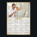 """2021 Full Year Magnetic Calendar Custom Photo<br><div class=""""desc"""">This is a 2021 photo calendar template to create your own useful gifts for the loved ones. Customize it with personal picture. It's easy to change the photo - just click on a """"Personalize this template"""" text and upload your image there. Yearly 2021 calendar is a perfect keepsake idea for...</div>"""