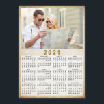 "2021 Full Year Magnetic Calendar Custom Photo<br><div class=""desc"">This is a 2021 photo calendar template to create your own useful gifts for the loved ones. Customize it with personal picture. It's easy to change the photo - just click on a ""Personalize this template"" text and upload your image there. Yearly 2021 calendar is a perfect keepsake idea for...</div>"