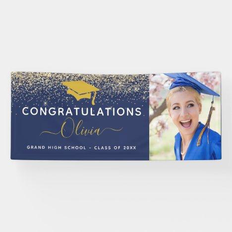 2021 Graduation Glitter Navy Blue Gold Banner