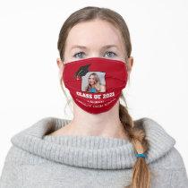 2021 Graduation Senior Portrait Custom Photo Red Adult Cloth Face Mask