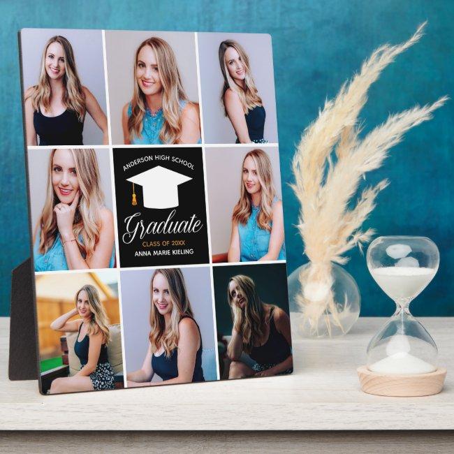 2021 Graduation Senior Portrait Photo Collage Chic Plaque