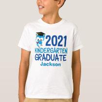 2021 Kindergarten Graduation Cute Blue Owl Kids T-Shirt