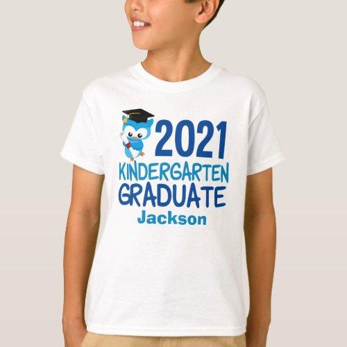 2021 Kindergarten Graduation Cute Blue Owl Kids T_Shirt