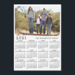 """2021 Magnetic Calendar Family Photo Black White<br><div class=""""desc"""">This simple minimalist style 2021 calendar magnetic card is easy to personalize with the family name and custom photo to create a unique present for the loved ones. The Black and white design with a colorful picture looks beautiful and is a useful gift idea. Click """"Personalize this template"""" and change...</div>"""