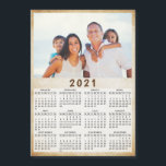 "2021 Magnetic Photo Calendar<br><div class=""desc"">Create your own magnetic photo calendar. Customize a 2021 calendar template with personal picture. It's a cute practical gift idea for the family,  couples,  grandparents,  friends,  workmates and colleagues for the Christmas,  New Year or any occasions.</div>"