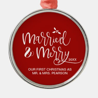 2021 Our First Christmas Married Merry Red Metal Ornament