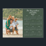 "2021 Personalized Family Name Photo Calendar<br><div class=""desc"">This is the green version of our 2021 Personalized Family Name and Photo Magnetic Calendar featuring your custom photo and name. Designed for 2021,  and perfect for small gifts,  stocking stuffers,  or in place of holiday cards!</div>"