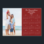 """2021 Personalized Family Name Photo Calendar<br><div class=""""desc"""">This is the red version of our 2021 Personalized Family Name and Photo Magnetic Calendar featuring your custom photo and name. Designed for 2021,  and perfect for small gifts,  stocking stuffers,  or in place of holiday cards!</div>"""