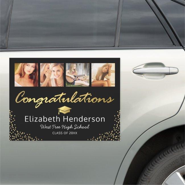 2021 Photo Black Gold Graduation Car Magnet