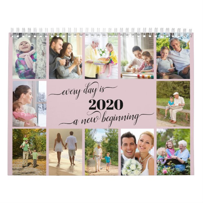 2021 Photo Collage Monthly Photo & Reminders Pink Calendar