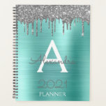 """2021 Silver Teal Aqua Blue Glitter Monogram Planner<br><div class=""""desc"""">2021 Silver and Aqua Blue Teal Sparkle Glitter Monogram Name and Initial Spiral Notebook Wedding or Annual Planning Calendar. This makes the perfect sweet 16 birthday,  wedding,  bridal shower,  anniversary,  baby shower or bachelorette party gift for someone that loves glam luxury and chic styles.</div>"""