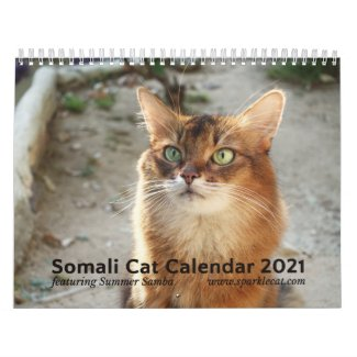 2021 Somali Cat Starring Summer Samba, Wall Calendar