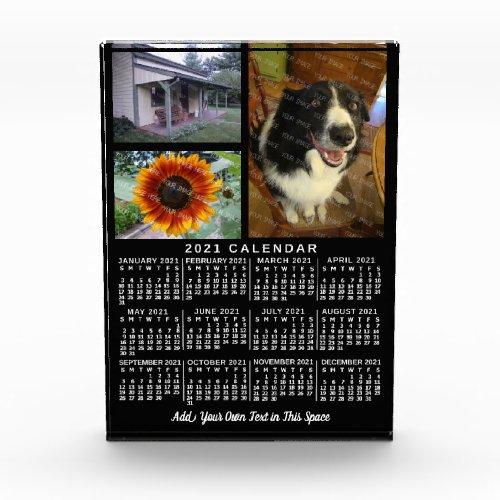 2021 Year Monthly Calendar Black Custom 3 Photos Acrylic Award